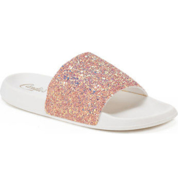 comfortable Women's Candie's® Glitter ... Slide Sandals cheap sale classic footaction online cheap sale shopping online fake FqRevc0W7z